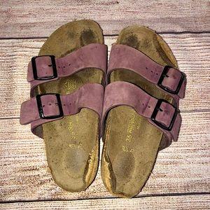 Birkenstock Arizona Purple Leather Sandals